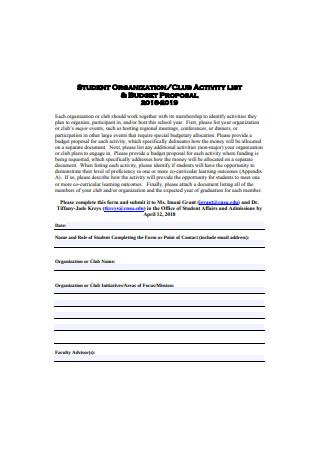 Student Organization Budget Proposal