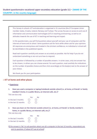 Student Upper Secondary Education Questionnaire