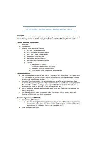 Summer Retreat Meeting Minutes