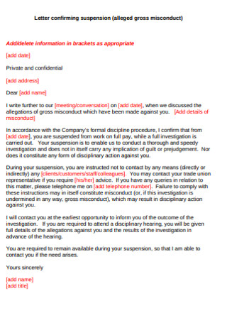 Suspension Conforming Letter
