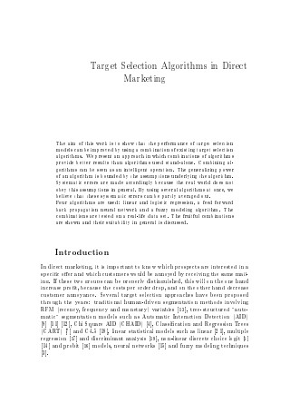 Target Selection Algorithms in Direct Marketing