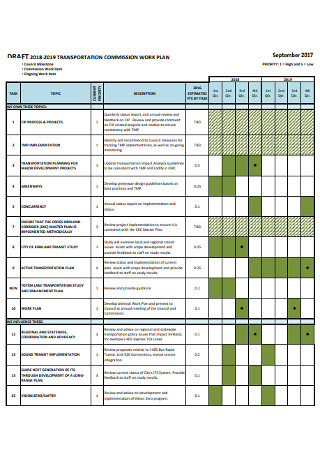 Transpotation Commission Work Plan