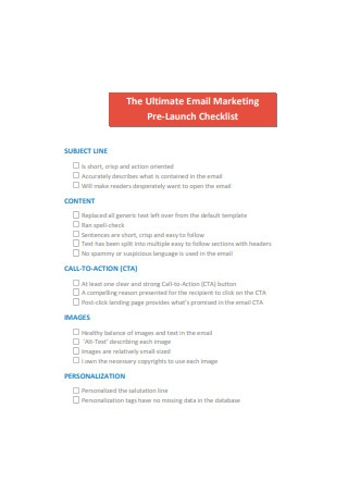 Ultimate Email Marketing Pre Launch Checklist
