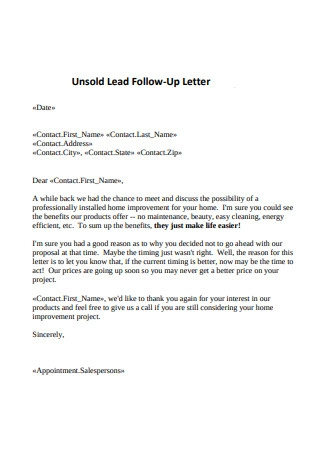 Unsold Lead Follow Up Letter