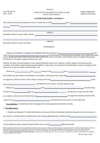 Water Purchase Contract