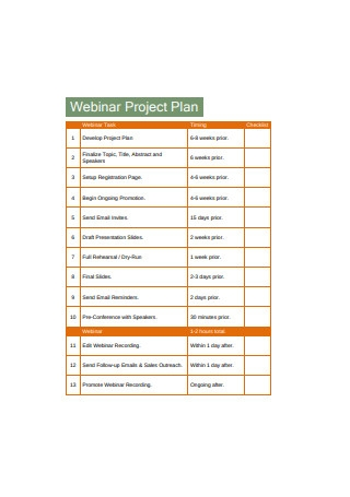 Webinar Project Plan Sample