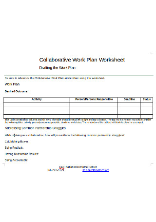 Work Plan Worksheet
