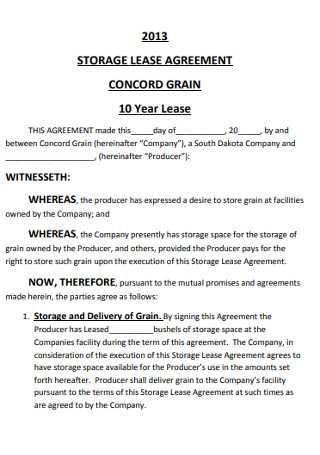 10 Year Storege Lease Agreement