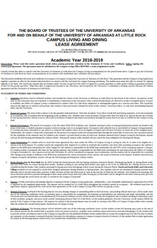 Acadamic Year Lease Agreement