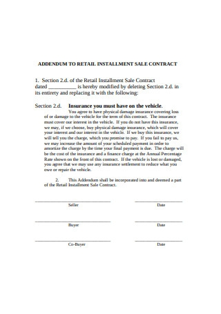 Addendum to Retail Installment Sales Contract