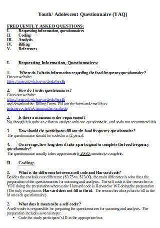 Adolescent Questionnaire