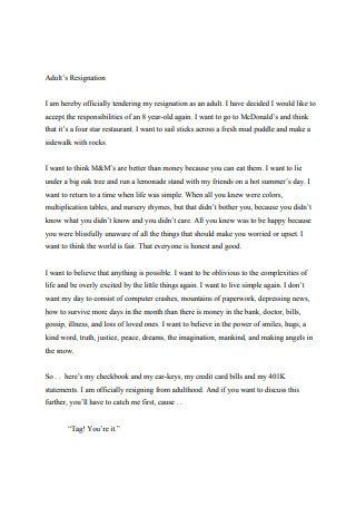 Adults Resignation Letter