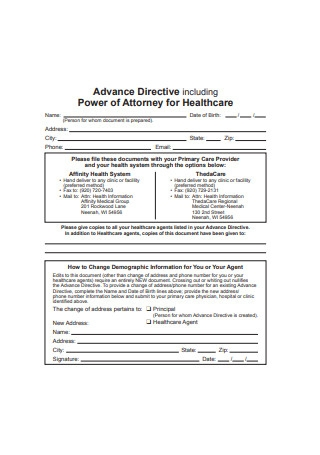 Advance Directive Including Power of Attorney for Healthcare