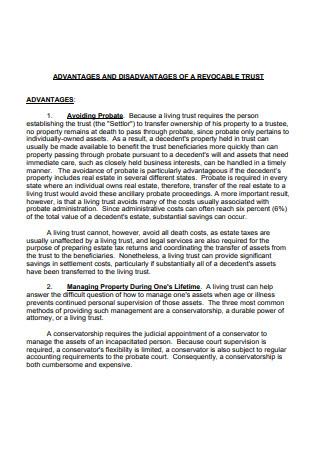 Advantages and Disadvantages of a Revocable Living Trust