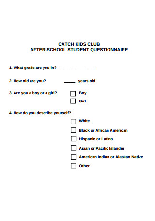 After School Student Food Questionnaire