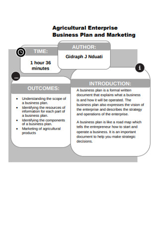 Agricultural Enterprise Business Plan and Marketing