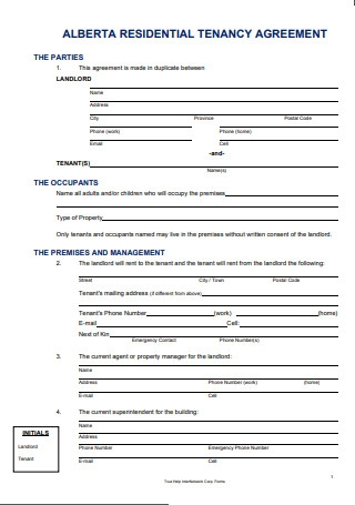 Alberta Lease Agreement