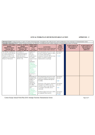 Annual Action Work Plan