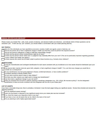 Annual Estate Plan Checklist