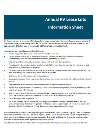 Annual Lease Information Sheet