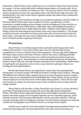 Annual Planet Fitness MarketingPlan