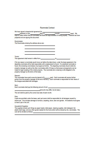 Apartment Roommate Contract