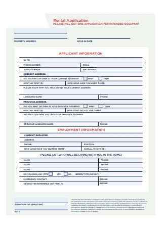 Applicants Rental Application