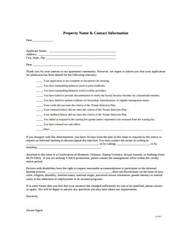 Application Rejection Letter
