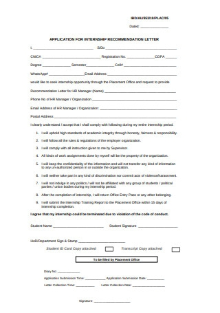 Application for Internship Recommendation Letter