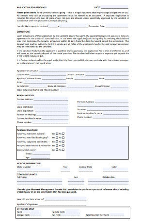 Approval Letter of Application for Residency