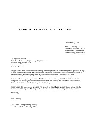 Assistance Letter of Resignation