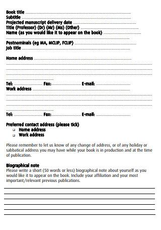 Author Marketing Questionnaire