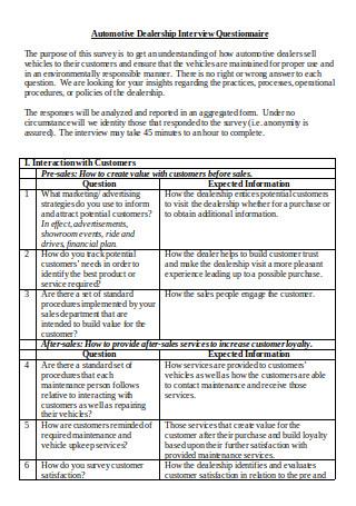 Automotive Dealership Interview Questionnaire