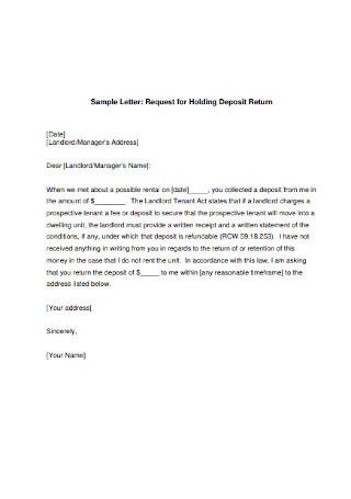 Basic Landlord Security Deposit Request Letter