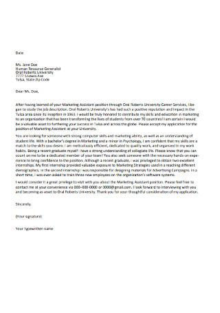 Basic Marketing Assistant Cover Letter