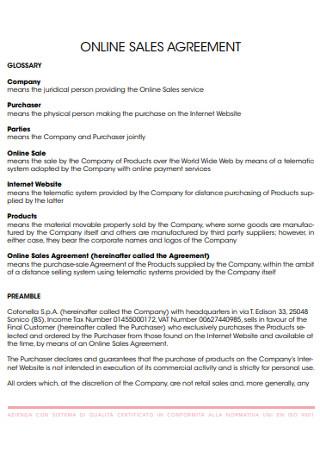 Basic Online Sales Agreement