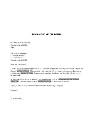 Basic Resignation Letter