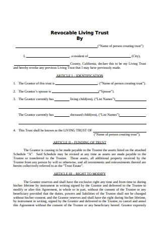 Basic Revocable Living Trust Form