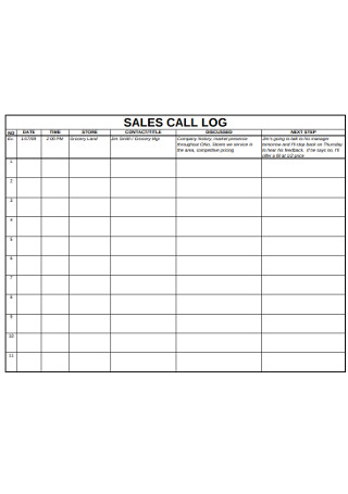 Basic Sales Call Logs