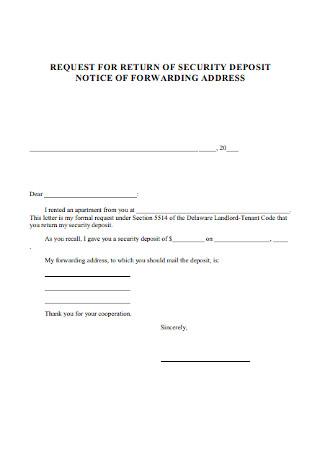 Basic Security Deposit Return Request Letter