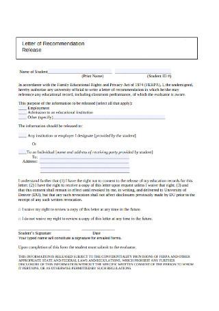 Basic Student Recommendation Letter