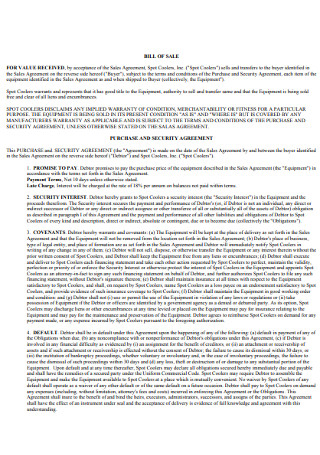 Bill of Sale security Agreement