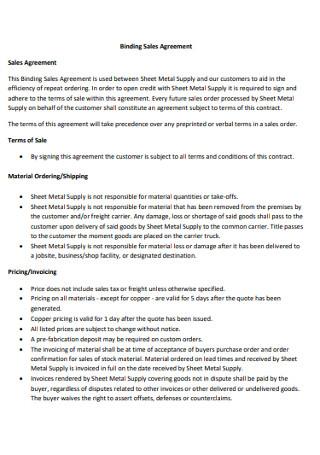 Binding Sales Agreement