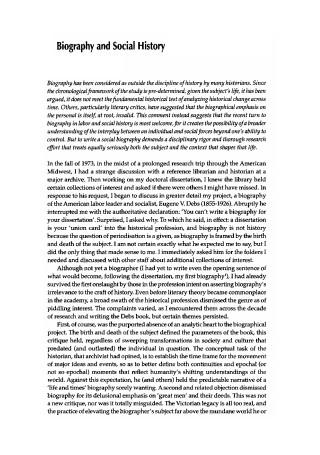 Biography and Social History