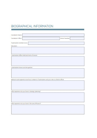 Biograpphical Information Form