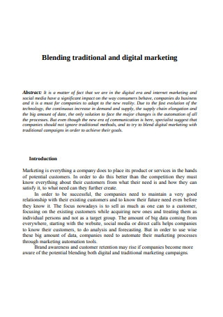 Blending Traditional and Digital Marketing