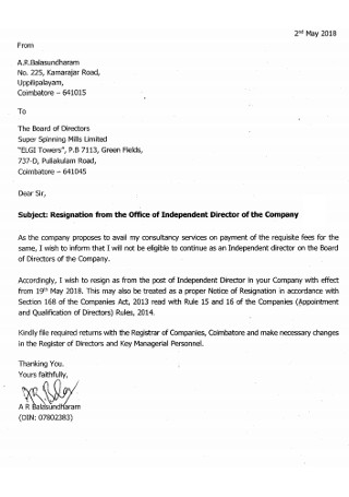 Board Independent Office Director Registration Letter