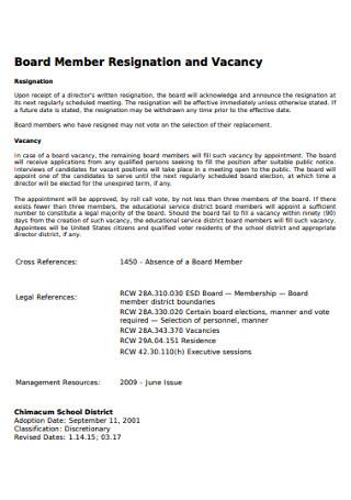 Board Member Resignation Letter