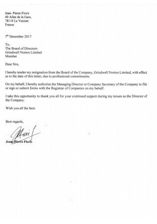 Board of Company Resignation Letter