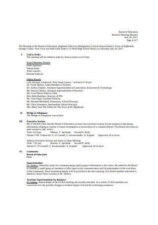 Board of Education Business Meeting Minutes